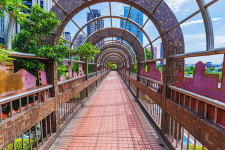 Footbridge in  the downtown area of Taichung Stock Photo