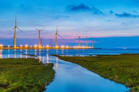 Gaomei Wetlands scenery at night 免版税图像 - 87570724