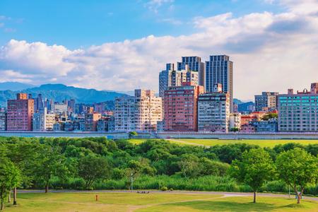 city park skyline: View of Guting riverside park in Taipei