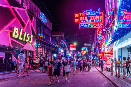 PATTAYA, THAILAND - AUGUST 07: This is Walking Street a famous red light district where many tourists come at night to visit clubs and bars on August 07, 2017 in Pattaya Editorial