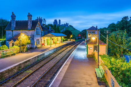 CORFE, UNITED KINGDOM - SEPTEMBER 08: This is an evening view of the Corfe Castle railway station traditional medieval architecture on September 08, 2017 in Corfe
