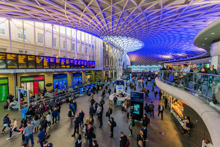 LONDON, UNITED KINGDOM - SEPTEMBER 23: This is the interior architecture of Kings Cross railway station which is a famous transportation hub on September 23, 2017 in London Editorial