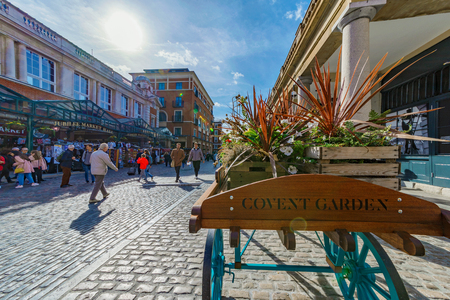 LONDON, UNITED KINGDOM - OCTOBER 06: This is Covent Garden piazza, a popular tourist area for shopping in central London on October 06, 2017 in London Editorial