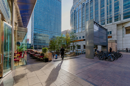 LONDON, UNITED KINGDOM - OCTOBER 07: Modern architecture in the Canary Wharf financial district on October 07, 2017 in London Editorial