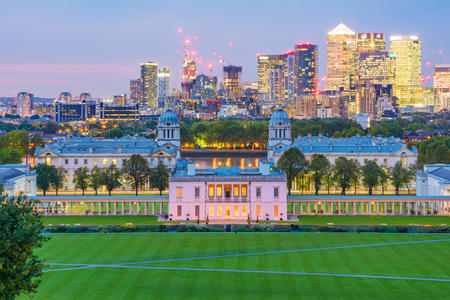 LONDON, UNITED KINGDOM - OCTOBER 07: This is a night view of Greenwich park which is a popular travel destination where people can see the Canary Wharf skyline on October 07, 2017 in London Editorial
