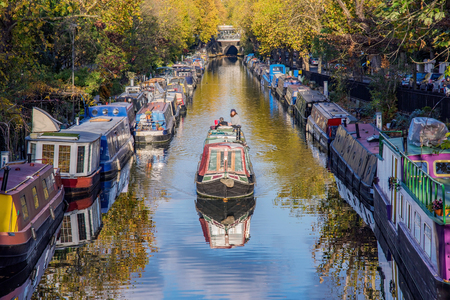 LONDON, UNITED KINGDOM - OCTOBER 31: View of boats in the famous Little Venice along the Regents Canal on October 31, 2017 in London