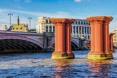 Blackfriars bridge and pillars on the River Thames