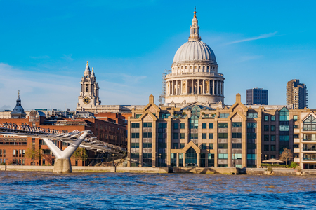LONDON, UNITED KINGDOM - NOVEMBER 06: View of the famous St Pauls Cathedral and waterfront architecture along the River Thames on November 06, 2017 in London Editorial