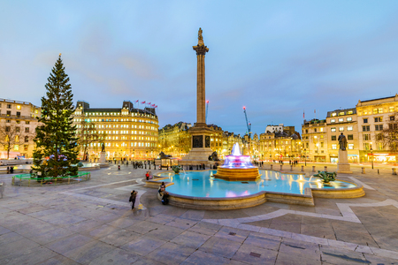 Trafalgar Square at night in London