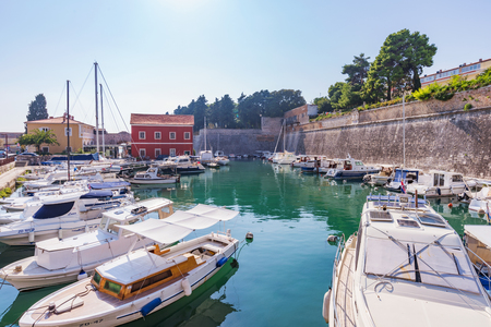 ZADAR, CROATIA - SEPTEMBER 14: View of a harbor with boats in the town of Zadar on September 14, 2016 in Zadar