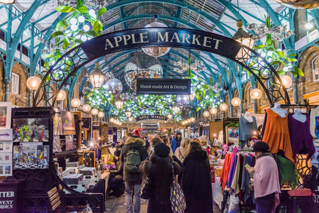 LONDON, UNITED KINGDOM - DECEMBER 06: This is Apple market which is a popular market art and design items in the Covent Garden area on December 06, 2017 in London Editorial