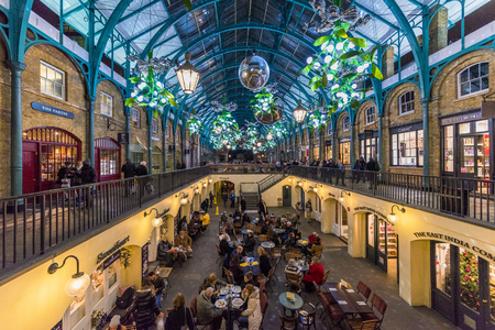 LONDON, UNITED KINGDOM - OCTOBER 06: This is Covent Garden market which is a popular location for people to shop, eat and visit cafes on October 06, 2017 in London