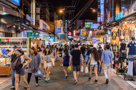 TAICHUNG, TAIWAN - JULY 18: This is a street in Fengjia night market the largest night market in Taiwan which is popular with tourists and locals on July 18, 2017 in Taichung