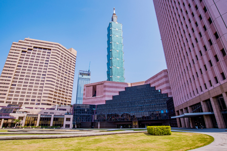 TAIPEI, TAIWAN - MARCH 28: This is a view of the World Trade Center building and Taipei 101 in the Xinyi financial district on March 28, 2017 in Taipei