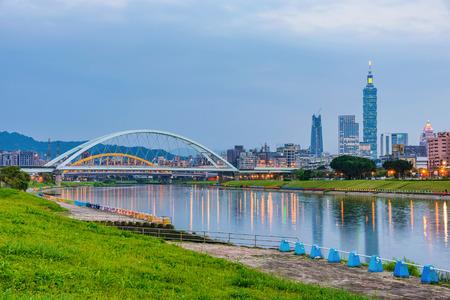 Taipei riverside park and city view