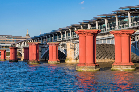 Pillars in the River Thames in central London