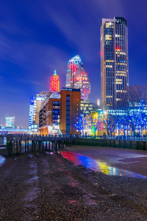 LONDON, UNITED KINGDOM - JANUARY 17: This is a night view of modern city buildings and the Famous Oxo tower along the River Thames on January 17, 2018 in London Editorial