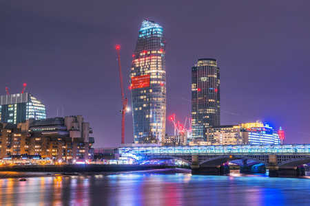 LONDON, UNITED KNGDOM - View of modern high rise apartment buildings and skyscrapers in central London along the River Thames on January 17, 2018 in London Editorial