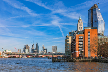 LONDON, UNITED KINGDOM - FEBRUARY 16: View of the famous Oxo building and riverside architecture on the River Thames on February 16, 2018 in London Editorial