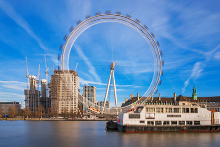 LONDON, UNITED KINGDOM - FEBRUARY 16: View of the London eye, a famous ferris wheel and popular tourist attraction along the River Thames on February 16, 2018 in London