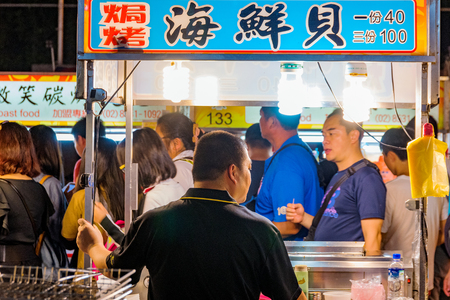 TAIPEI, TAIWAN - JULY 14: This is Ningxia night market a famous night market which is well known for its wide variety of street food on July 14, 2017 in Taipei