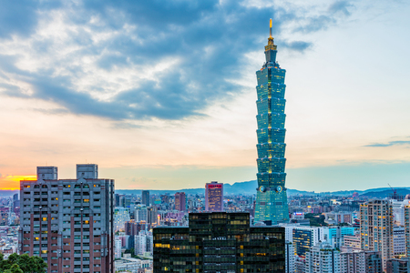 TAIPEI, TAIWAN - AUGUST 29: View of the famous Taipei 101 building in the downtown Xinyi financial district in the evening on August 29, 2014 in Taipei