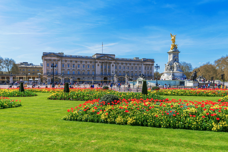 LONDON, UNITED KINGDOM - APRIL 18: View of Buckingham Palace architecture and gardens on April 18, 2018 in London