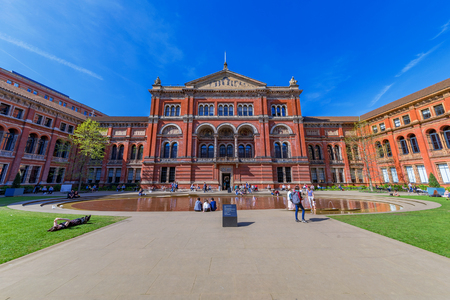 LONDON, UNITED KINGDOM - APRIL 18: This is the courtyard of the famous Victoria and Albert museum, a popular history museum and travel destination on April 18, 2018 in London
