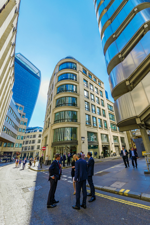 LONDON, UNITED KINGDOM - APRIL 19: City of London architecture in the downtown Bank financial district on April 19, 2018 in London