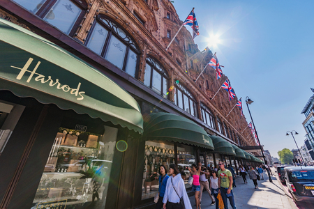 LONDON, UNITED KINGDOM - MAY 06: This is Harrods department store, a famous luxury store on South Kensington high street on May 06, 2018 in London