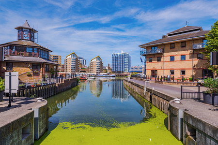 LONDON, UNITED KINGDOM - JUNE 06: This is Limehouse Basin a famous waterway in the East End of London along the Regents Canal  on June 06, 2018 in London Editorial