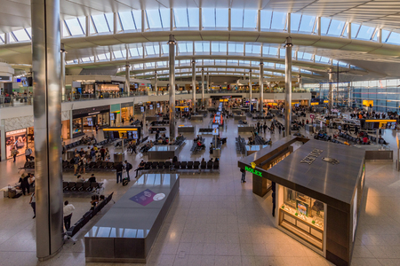 LONDON, UNITED KINGDOM - JUNE 27: This is the interior view of Heathrow airport terminal 2 departures area on June 27, 2018 in London Editorial