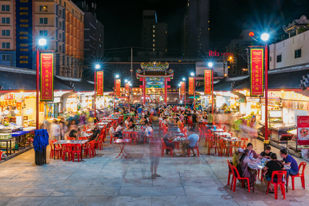 PATTAYA, THAILAND - JUNE 29: This is Sohotown also known as Chinatown a popular a popular street food market where many toruists like to eat and drink on June 29, 2018 in Pattaya