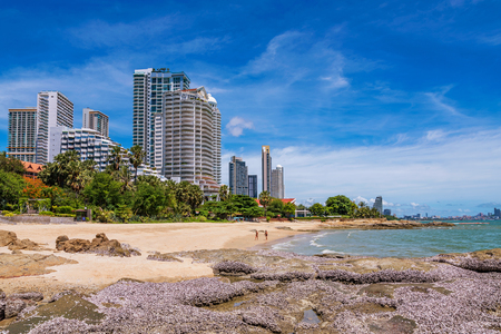 PATTAYA, THAILAND - JUNE 30: View of waterfront buildings and beach area in the Naklua area on June 30, 2018 in Pattaya