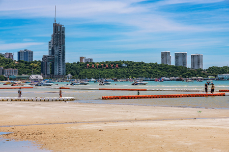 PATTAYA, THAILAND - JULY 01: This is a view of Pattaya beach with the famous Pattaya city sign on July 01, 2018 in Pattaya Editorial