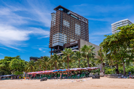 PATTAYA, THAILAND - JULY 01: View of  the famous Central Festival shopping mall and Pattaya beach in the downtown area on July 01, 2018 in Pattaya