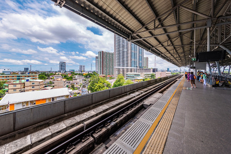 BANGKOK, THAILAND - JULY 04: This is Hua Mak station, an Airport Rail LInk train station in Bang Kapi on July 04, 2018 in Bangkok Фото со стока