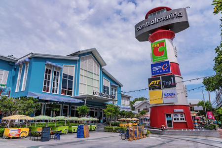 PATTAYA, THAILAND - JULY 09: This is Central Marina shopping mall, a popular shopping center in the downtown area on July 09, 2018 in Pattaya