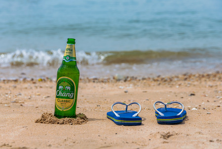 PATTAYA, THAILAND - JULY 10: Chang beer, one of Thailand's most popular beers on July 10, 2018 in Pattaya Editorial