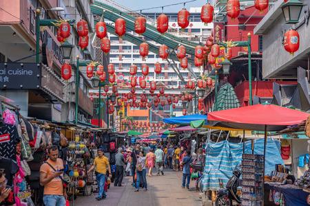 KUALA LUMPUR, MALAYSIA - JULY 21: Petaling Street market, where many tourists comes to shop in the Chinatown area on July 21, 2018 in Kuala Lumpur