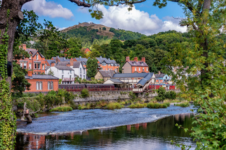 View of historic railway station river scenery in Llangollen town, UK