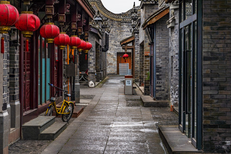 CHENGDU, CHINA - OCTOBER 02: Old alley with traditional Chinese architecture in Luodai ancient town on October 02, 2018 in Chengdu