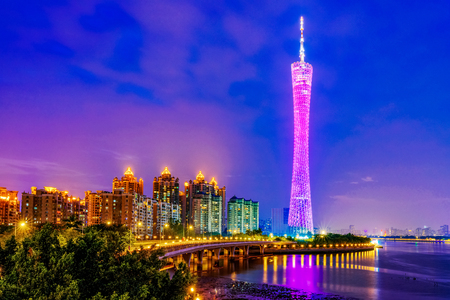 GUANGZHOU, CHINA - OCTOBER 21: This is a night view of the Canton Tower building, a famous landmark skyscraper on the Pearl River on October 21, 2018 in Guangzhou Редакционное