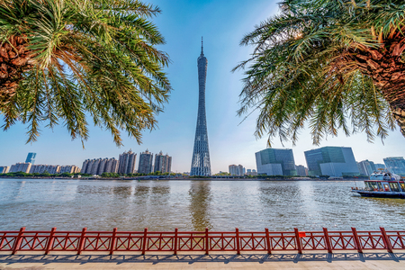 GUANGZHOU, CHINA - OCTOBER 27: View of the famous Canton Tower skyscraper building along the Pearl River on October 27, 2018 in Guangzhou