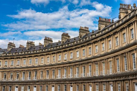 BATH, UNITED KINGDOM, JULY 02: Apartment buildings on the Circus street, a famous street known for its unique architecture on July 02, 2019 in Bath Zdjęcie Seryjne