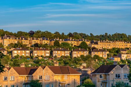 BATH, UNITED KINGDOM, JULY 02: View of houses situated on a hill in a residential area on July 02, 2019 in Bath
