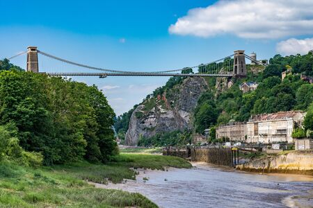 BRISTOL, UNITED KINGDOM - JULY 03: Scenic view of the Clifton Suspension Bridge along the River Avon on July 03, 2019 in Bristol