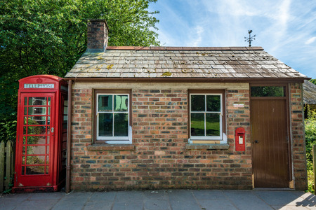 CARDIFF, UNITED KINGDOM - JULY 04: Blaenwaun Post Office building and telephone booth at the St Fagans National Museum of History on July 04, 2019 in Cardiff