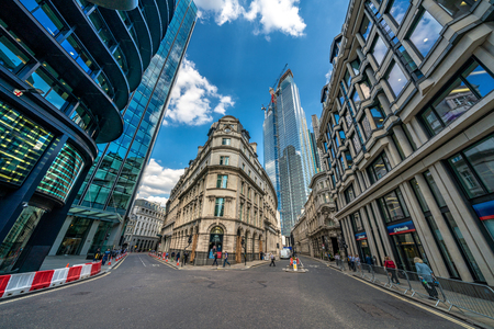 LONDON, UNITED KINGDOM - JULY 16: Bank financial district office buildings in the City of London on July 16, 2019 in London Editorial