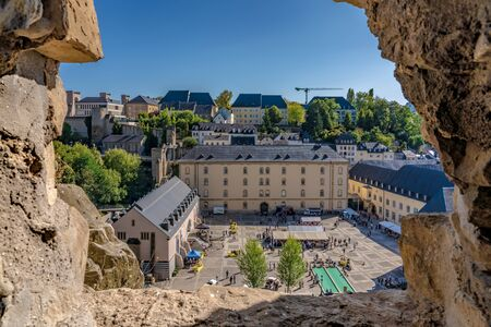 LUXEMBOURG CITY, LUXEMBOURG - SEPTEMBER 21: This is a view of the town square at Notre Dam Cathedral and the historical old quarter of Ville Haute on September 21, 2019 in Luxembourg Editoriali